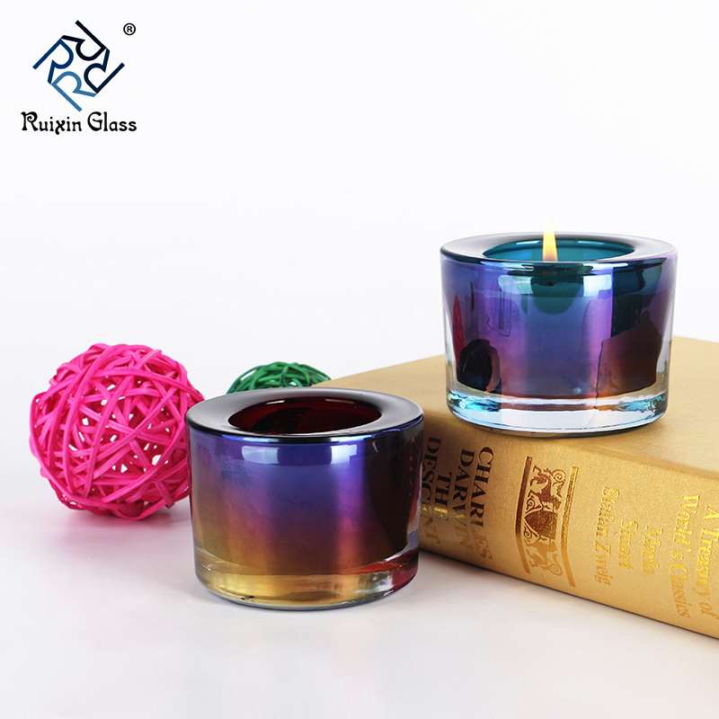 Electroplate glass candle holder