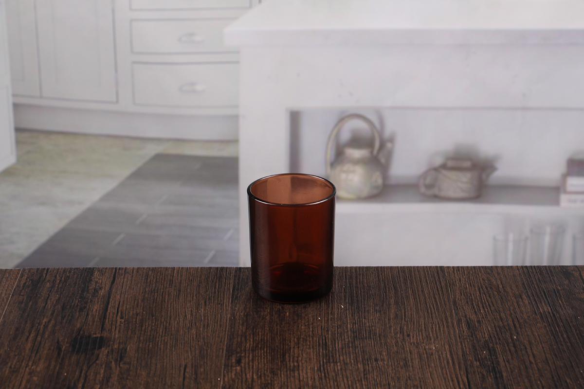 Amber glass candle holder