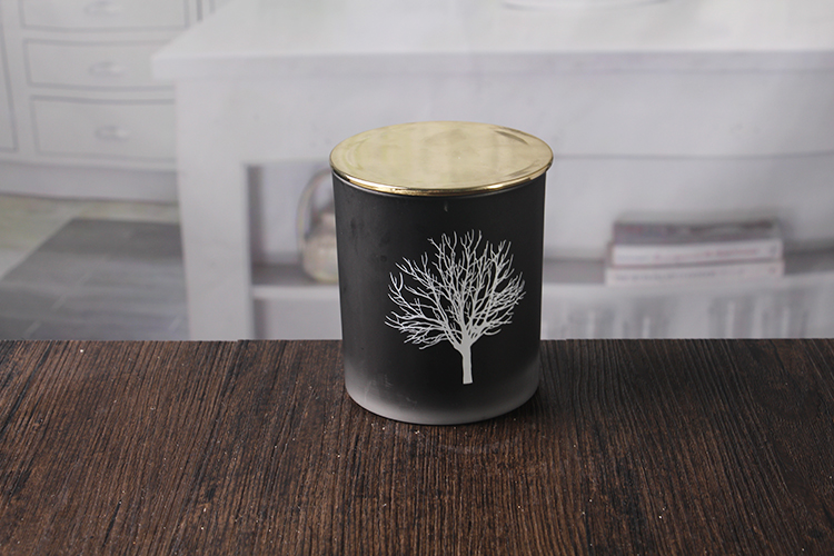 Black glass candle holder