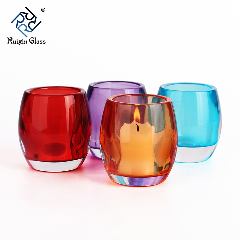 colored glass candle holder set
