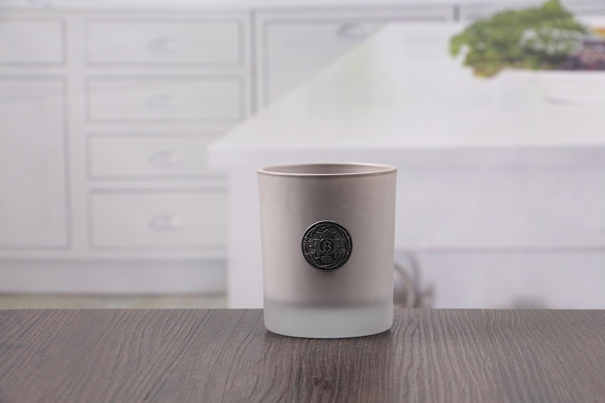 Gray candle holders