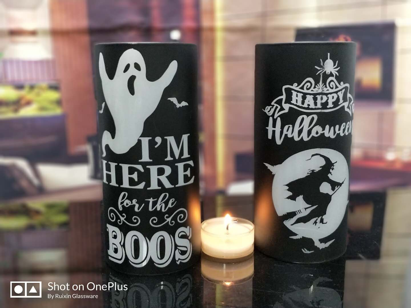 Glass Candle holder for halloween decoration