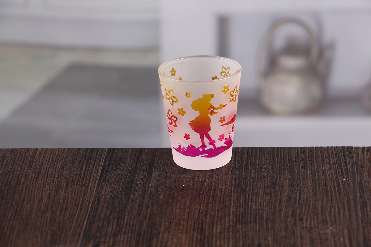 Small glass candle holder