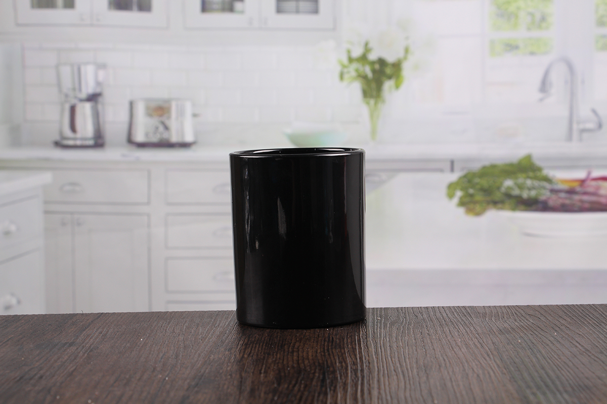 Black glass candle jars
