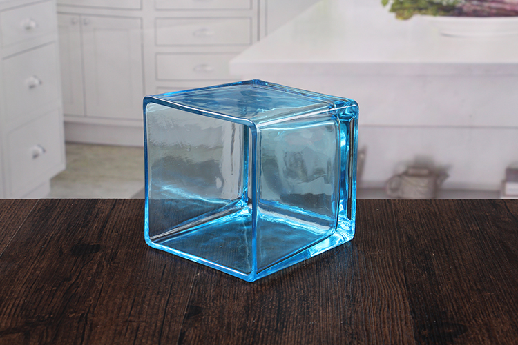 Blue glass votive candle holders