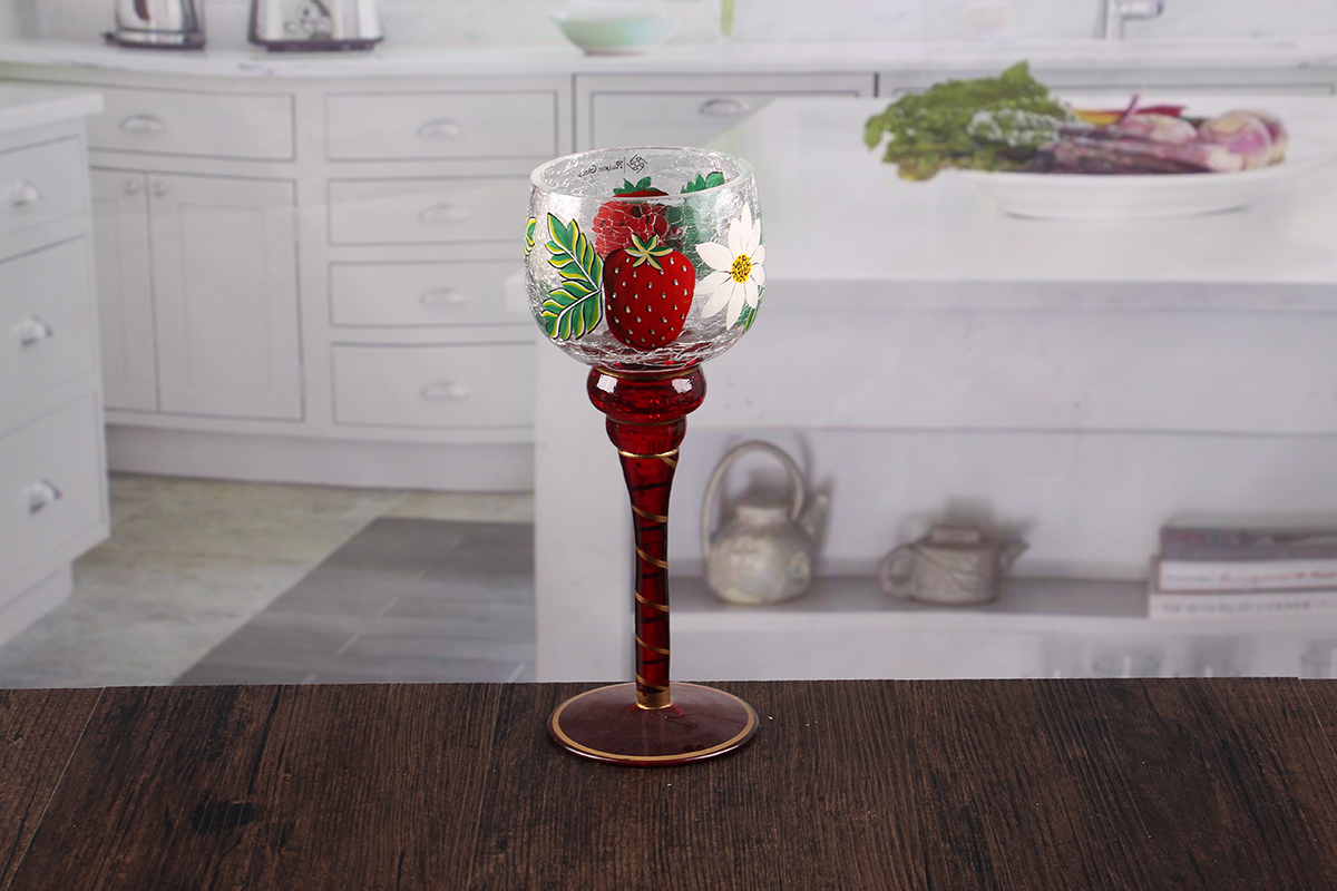Long stem glass candle holders