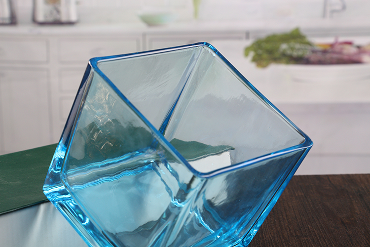 Large square glass candle holders