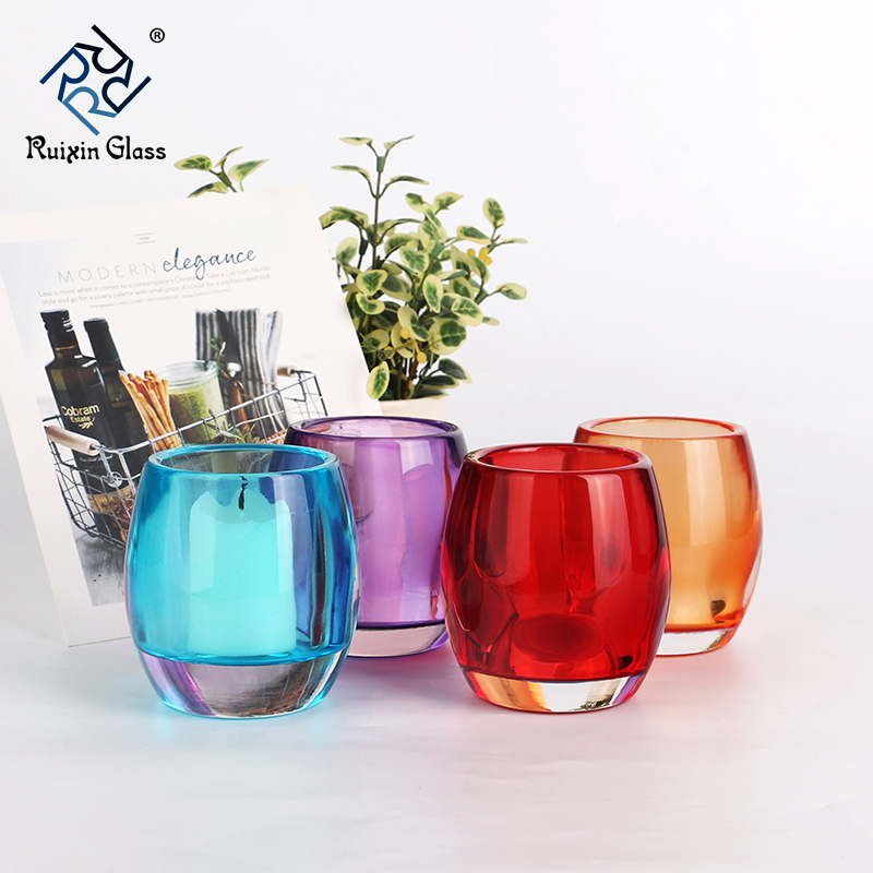 colored glass candle holder set,