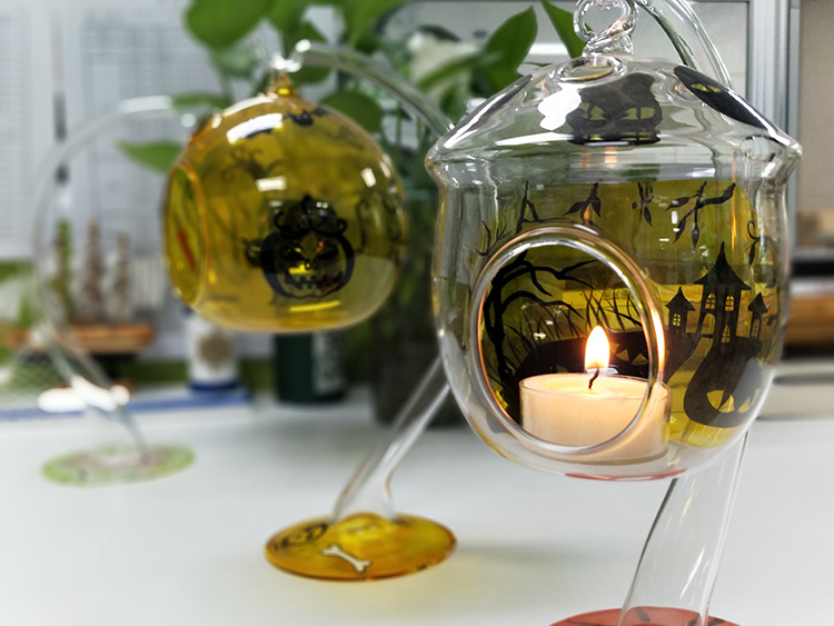 Halloween Glass Candle Holders