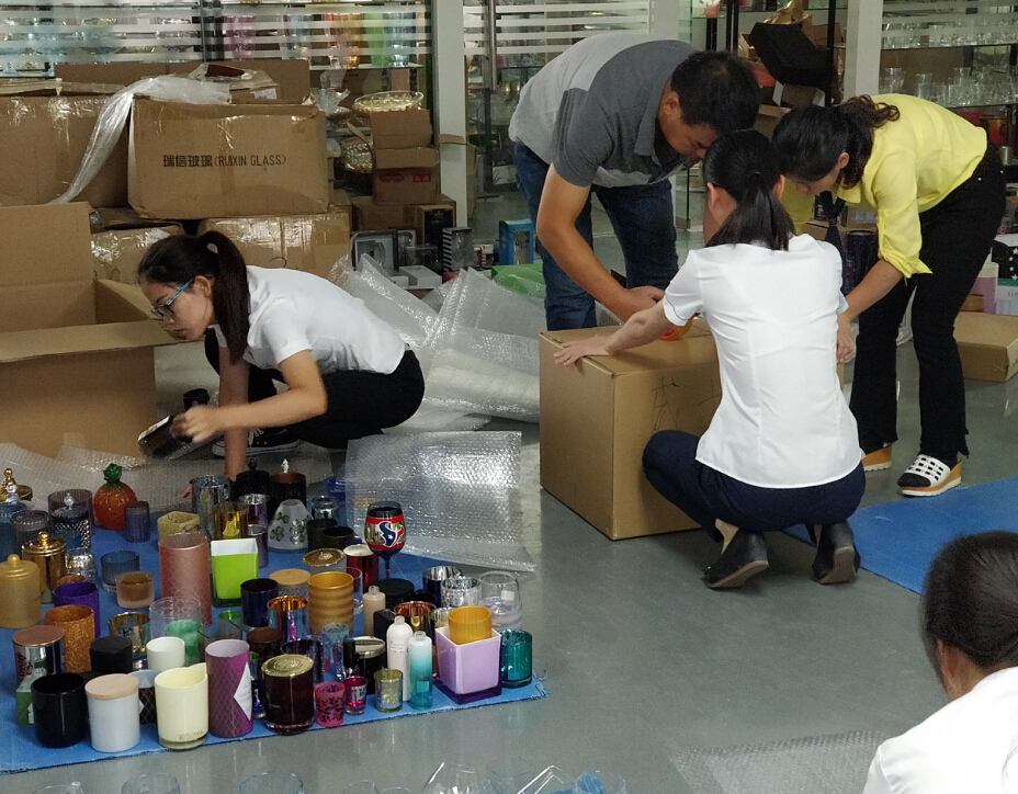 Prepare candle holder and glassware sample for exhibition Prepare candle holder and glassware sample for exhibition