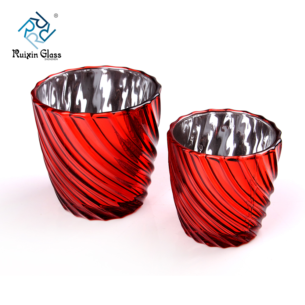 Electroplating Spray Red Color Votive Candle Holders Supplier