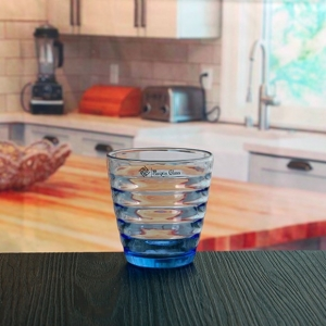 150ml 160ml 170ml blue glass cup colored ribbon glasses drinking mug for sale