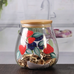700 ml seal hand painted glass jars with bamboo cover wholesale