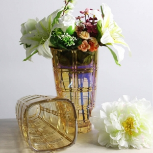 Golden and gray living room decorate glass vase wholesale