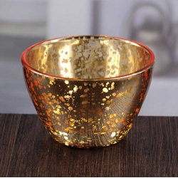Cheap glass bowl shaped golden votive candle holder wholesale