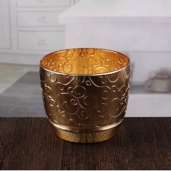 China Embossed gold candlesticks bulk cheap gold votive candle holders supplier factory