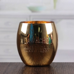 Golden egg shape glass candle holder decorative candlestick wholesale
