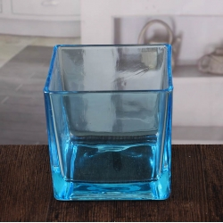 China Large square candle holder blue glass votive candle holders wholesale factory