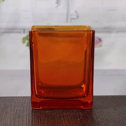 China Orange large glass candle holders wholesale glass square candle holder on sale factory