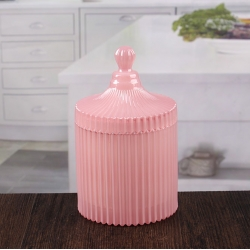 Round decorative striped glass candlestick pink 4 inch glass candle holders with dome lids