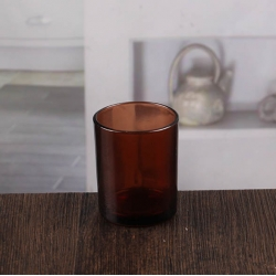 China Small amber glass candle holder wishing candlestick wholesale factory