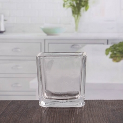 China Small clear glass tealight holders square glass candle holders wholesale factory