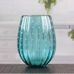 China Striped turquoise candle holders cheap candle sticks holder wholesale factory