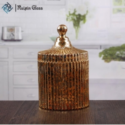 wholesale golden glass jars decorative candle holders with dome lid