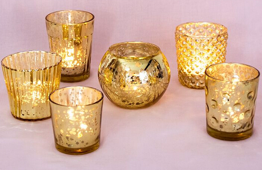 Candle Holder Glass Votive Spot Plating Gold