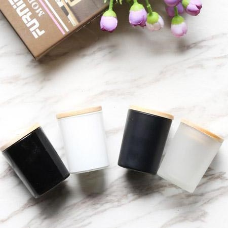 Oem Black And White Matte Frosted Glass Candle Holder Jars