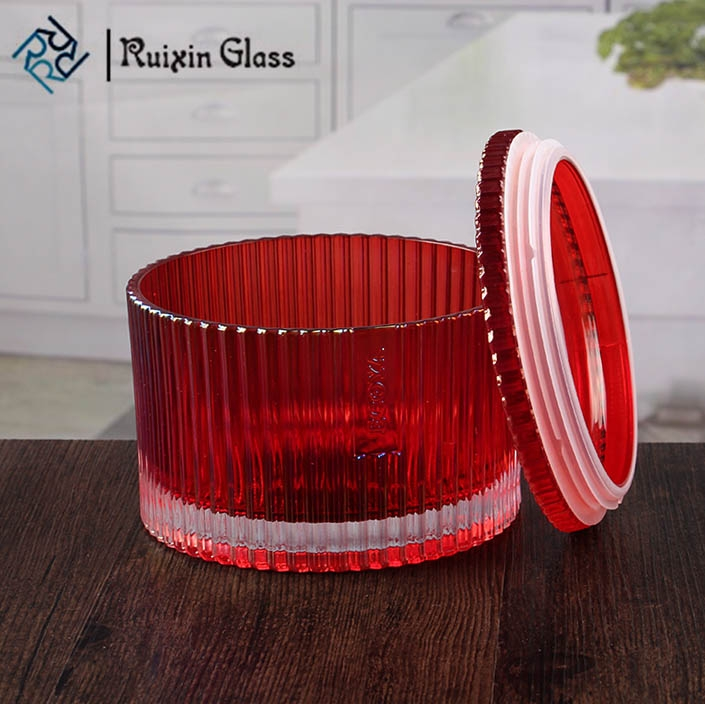Red Large Round Candle Holders Glass Candle Base